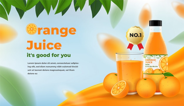 Orange juice ads. glass and bottle of orange juice with oranges and leaves