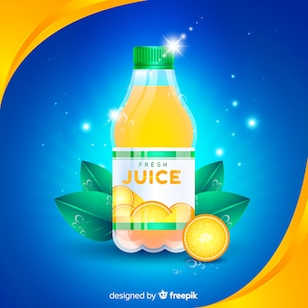 Orange juice advertisement with realistic design