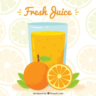 Sfondo di succo d'arancia in stile disegnato a mano