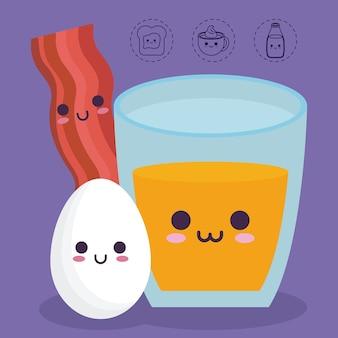 Orange juice bacon stripe and egg