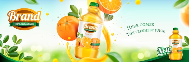 Orange juice banner banner with fresh fruit and swirling liquid on bokeh glittering surface in 3d style
