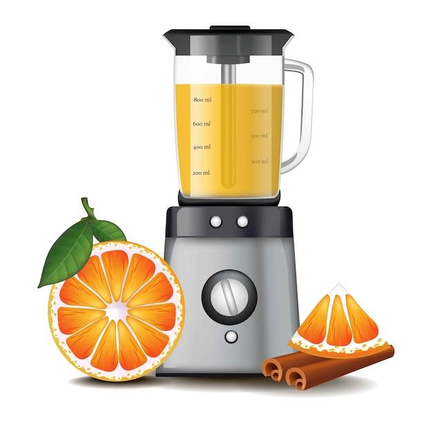Orange juice in a blender mixer realistic