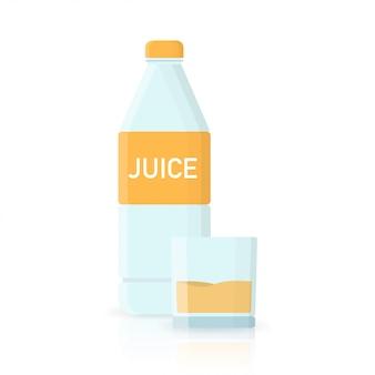 Апельсиновый сок бутылка воды иконы в плоском стиле
