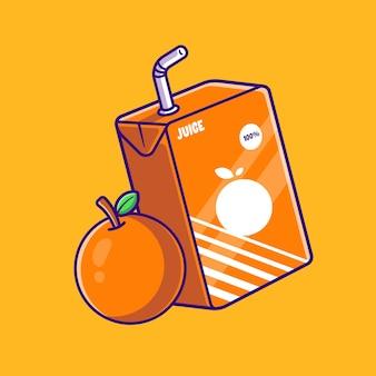 オレンジジュースボックス漫画イラスト。フラット漫画スタイル