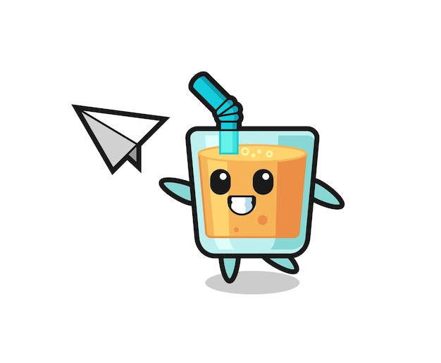 Orange juice cartoon character throwing paper airplane , cute style design for t shirt, sticker, logo element