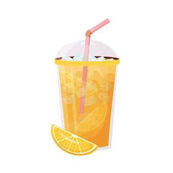 오렌지 주스 만화 그림 짚으로 플라스틱 컵에 아이스 감귤 음료 음료 차가운 레모네이드 평면 색상 개체 계절 여름 다과 흰색 배경에 고립