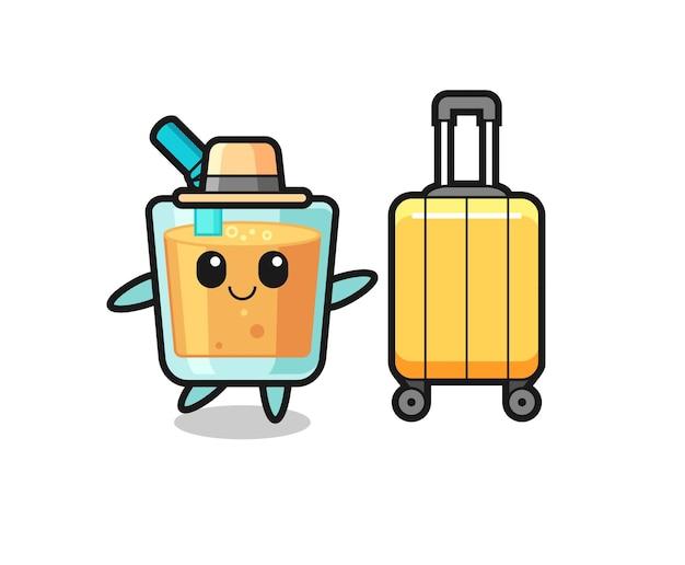 휴가에 수하물이 있는 오렌지 주스 만화 그림, 티셔츠, 스티커, 로고 요소를 위한 귀여운 스타일 디자인