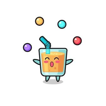 The orange juice circus cartoon juggling a ball , cute style design for t shirt, sticker, logo element