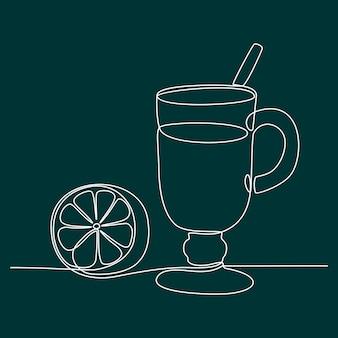 Orange juice continuous line drawing vector illustration