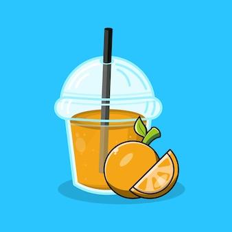 오렌지 주스 컵 플라스틱 아이콘 로고