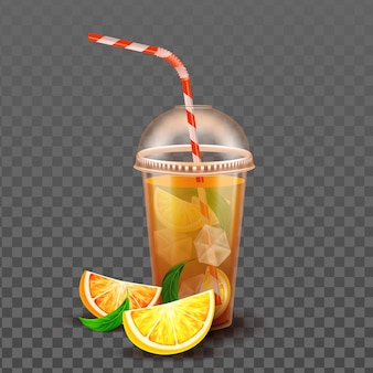 Orange juice cup with ice cubes and straw vector