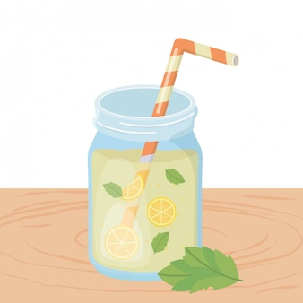 Orange juice drink with mint