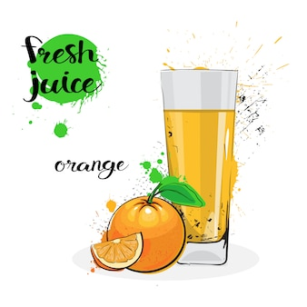 Orange juice fresh hand drawn watercolor fruits and glass on white background