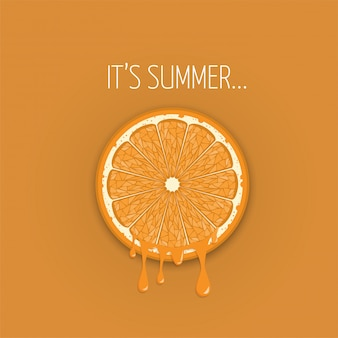 Orange juice from a slice piece summer vactor banner background