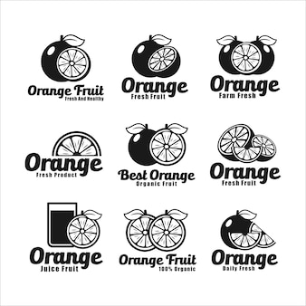 オレンジジュースフルーツのロゴコレクション