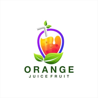 Orange juice fruit logo design