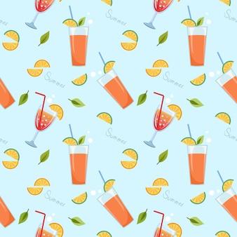 Orange juice in glass on blue seamless pattern. summer times.