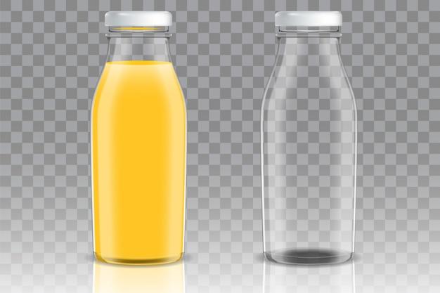 Orange juice glass bottle vector set