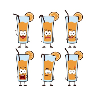 Orange juice in glass with straw and orange fruit character cartoon mascot set expression pose in cute funny style