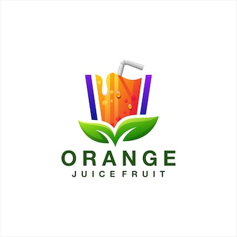 Orange juice gradient logo design