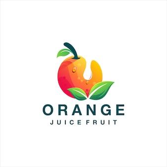 オレンジジュースのグラデーションのロゴのデザイン