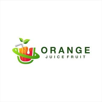 オレンジジュースのグラデーションのロゴデザイン