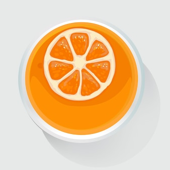 Vista superiore dell'illustrazione del succo d'arancia