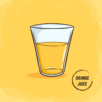 Апельсиновый сок в стеклянной иллюстрации с цветным милый стиль каракули на желтом