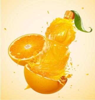 3dイラストの皮とボトルの形のオレンジジュース