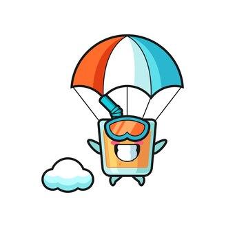 Мультфильм талисмана апельсинового сока - это прыжки с парашютом со счастливым жестом, милый стиль дизайна для футболки, наклейки, элемента логотипа
