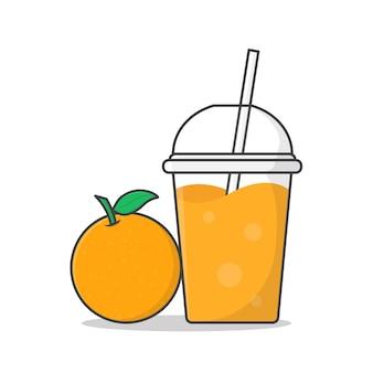 Orange juice or milkshake in takeaway plastic cup   icon illustration