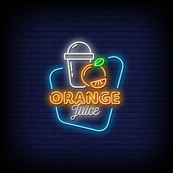 Orange juice neon signs style text