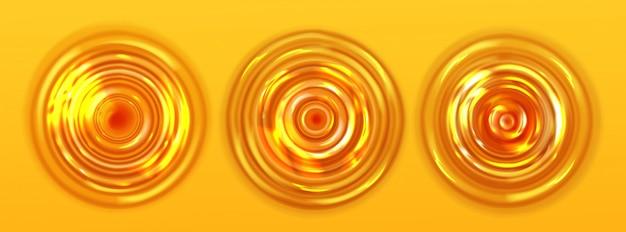オレンジジュースまたはビールリップルトップビュー、波状テクスチャー