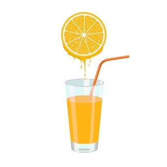 Orange juice and orange slice
