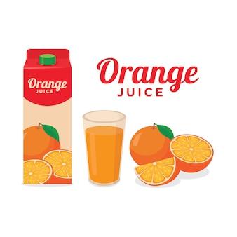 Orange juice package a glass of orange juice and whole half slice of orange fruit vector