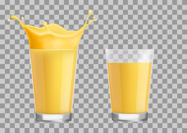Всплеск апельсинового сока в стакане. отдельные векторные иллюстрации.