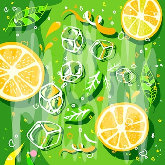 Orange juice splash with stylized crush slice