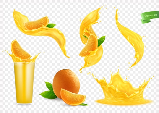 Orange juice splashes collection with isolated images of liquid flows drops whole fruit slices and glass