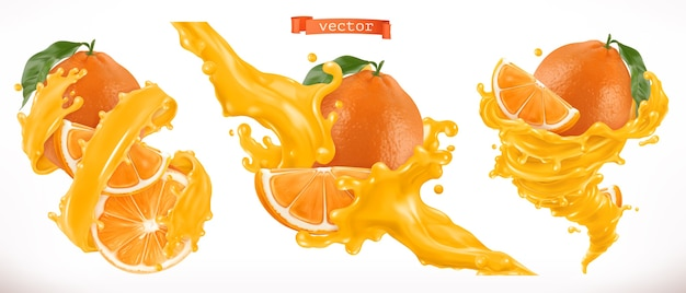 Orange juice splashes illustration set
