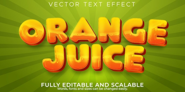 Orange juice text effect, editable fruit and tropic text style