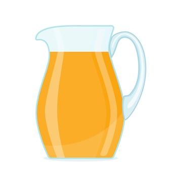 Orange juice in transparent glass jar.