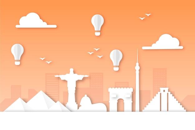 Orange landmarks skyline in paper style