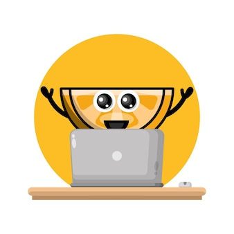 Orange laptop cute character logo