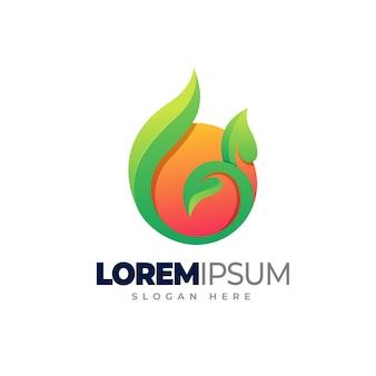 Orange leaf logo template design