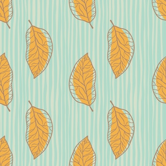 Orange leaf silhouettes seamless pattern. blue stripped background. simple botanic outline print.