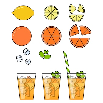 Orange lemonade with citrus slices, ice and meant in glass with straw, cut lemon and orange.