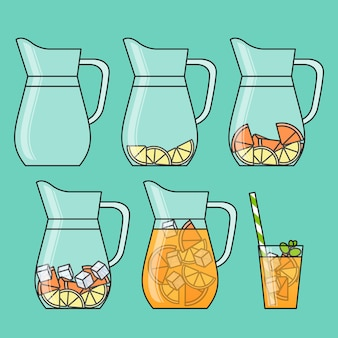 Orange lemonade with citrus slices, ice and meant in jug and glass with straw.