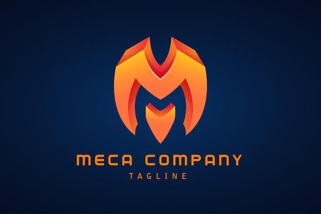 Оранжевая буква m градиентный логотип корпоративный