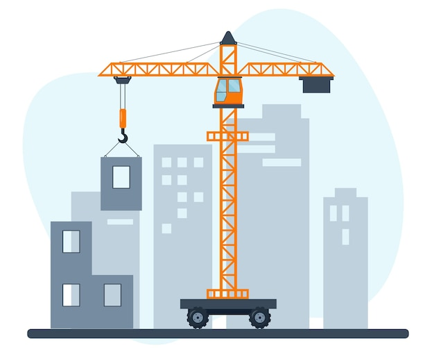 Orange lifting crane at construction site. building house in city.