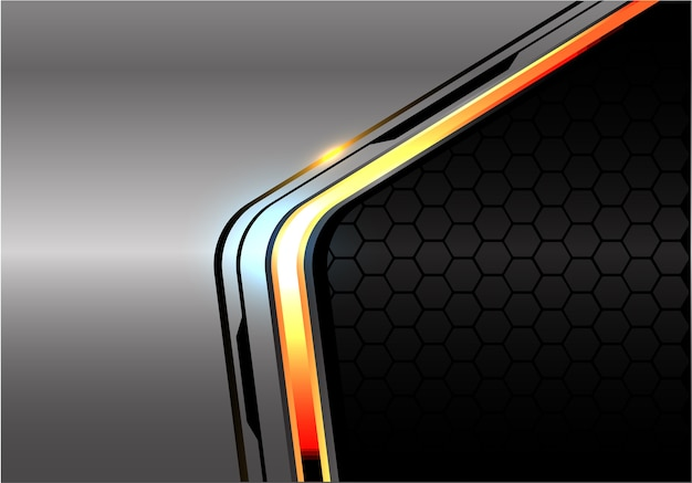 Orange light black line on metal dark hexagon mesh.